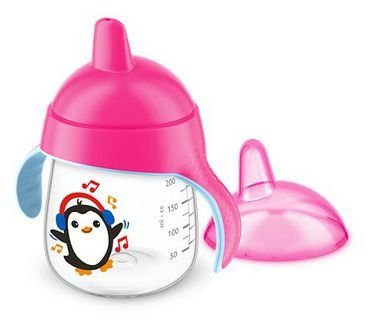 Copo Anti Vazamento Pinguim 260ml - Rosa - Avent Philips