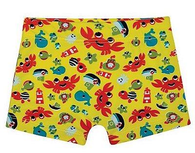 Sunga Amarela Boxer Animais Marinhos -Tip Top