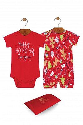 Kit Body Unissex - Natal - Vermelho - Up baby