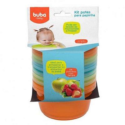 Kit 6 Potes com tampa para Papinha - Azul - Buba