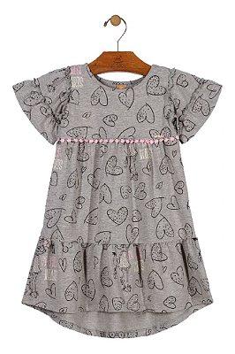 Vestido Estampado Coração - Cinza - Up Baby