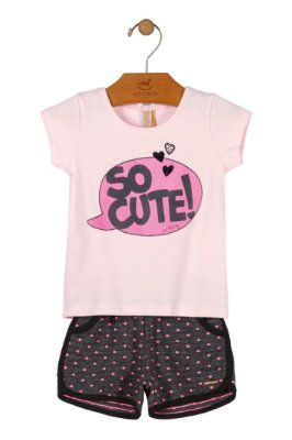 Conjunto Meia Malha - So Cute - Rosa/Chumbo - Up Baby