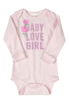 Body Manga Longa - Floral Rosa - Up Baby