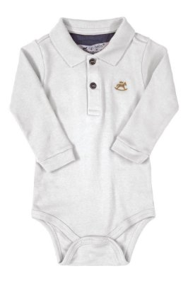 Body Polo Manga Longa - Branco - Up Baby