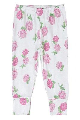 Calça em Suedine - Floral Rosa - Up Baby
