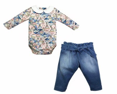 Conjunto Body Manga Longa e Jeans - Grow Up