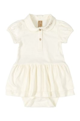 Vestido Body Polo - Manga curta em Cotton - Off White - UP Baby