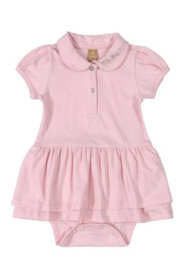 Vestido Body Polo - Manga curta em Cotton - Rosa - UP Baby