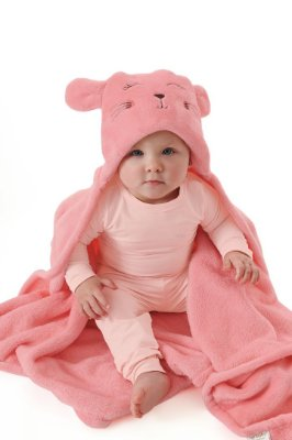 Manta Peluciada Bebê com Capuz Rosa - Up Baby