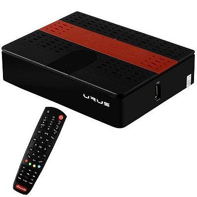 audisat urus k10 full hd com acm/2 lnb/wi-fi/hdmi preto/vermelho