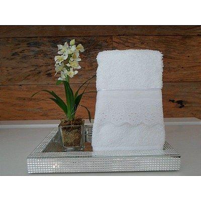 Toalha Lavabo Branca Bordado Inglês 35 X 50