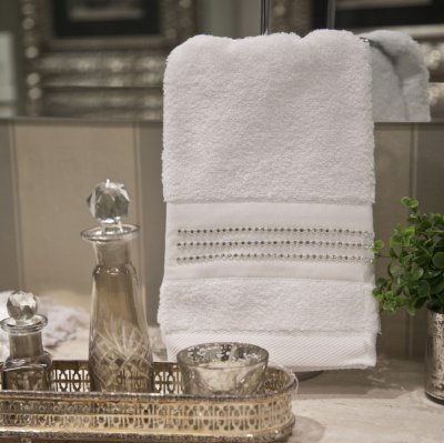 Toalha Lavabo Crystal Branca 30 X 50