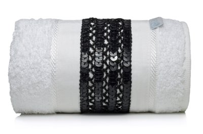 Toalha Lavabo Glamour Preta E Branca 30 X 50