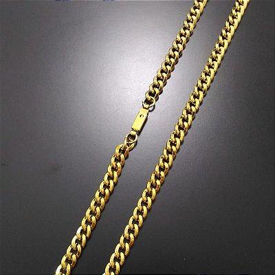 Corrente Groumet 60cm 5mm Banhada a Ouro 18K
