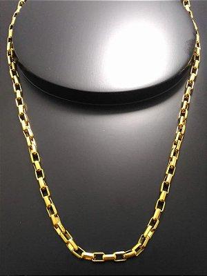 Corrente Tijolinho 57cm 4mm Banhada a Ouro 18K