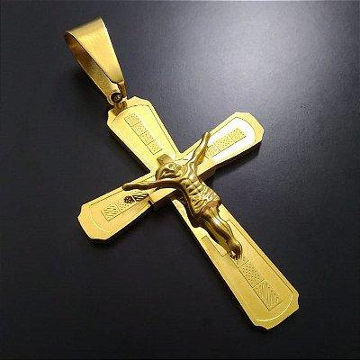 Pingente Cruz Jesus Banhada a Ouro 18K