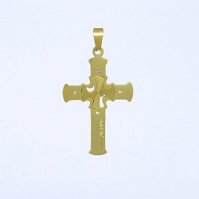 Pingente Cruz Jesus Cravejada Banhado a Ouro 18K