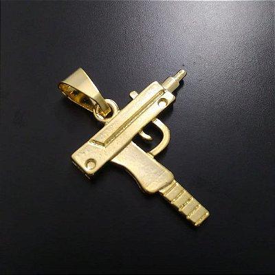 Pingente Submetralhadora Banhado a Ouro 18K
