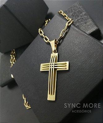 Corrente Cadeado Alongado 60cm 5mm Banhada a Ouro 18K + Pingente Cruz Listras