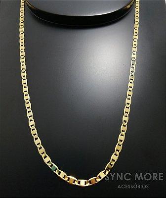 Corrente Elo Piastrine 70cm 4mm Banhada a Ouro 18K