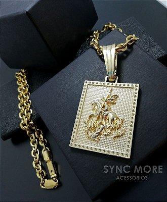 Corrente cadeado 70cm 7mm Banhado a Ouro 18K  + Pingente Placa São Jorge