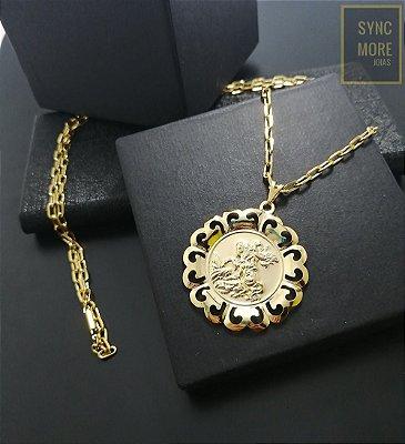 Corrente Cadeado Alongado 70cm 4mm Banhada a Ouro 18K + Pingente São Jorge