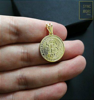 Pingente Bitcoin Banhado a Ouro 18K