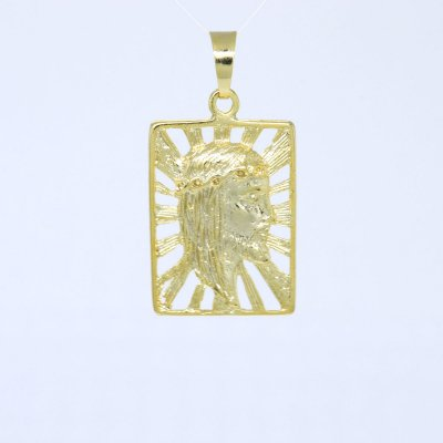 Pingente Placa Vazada Perfil de Cristo Banhado a Ouro 18K