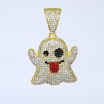 Pingente Ice Emoji Fantasma Banhado a Ouro 18K Cravejado com Zirconias