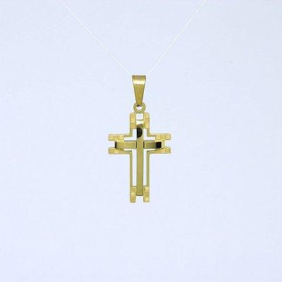 Pingente Cruz Vazada P Banhado a Ouro 18K
