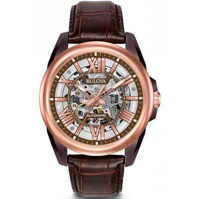 Relógio Bulova Sutton Skeleton automático 98A165 masculino