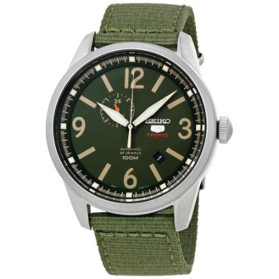 Relogio Seiko 5 Militar Sports Ssa299b1 Militar Verde