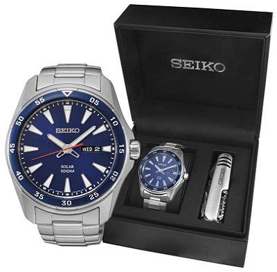 Relogio Seiko Solar SNE391B1 Masculino gift box