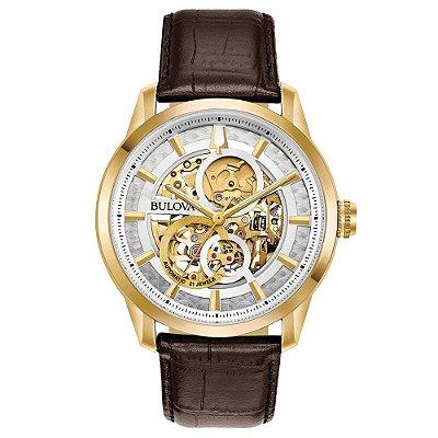 Relógio Bulova Sutton automático 97A138 masculino esqueleto