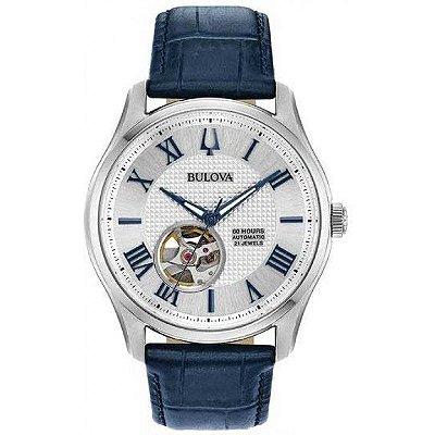 Relógio Bulova Wilton automático 96A206 masculino Safira