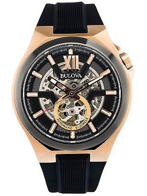 Relógio Bulova Skeleton automático 98A177 masculino