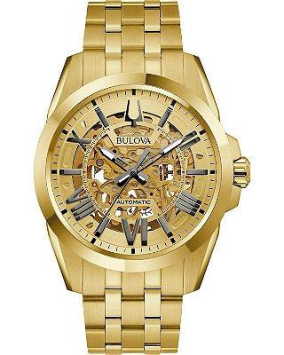 Relógio Bulova Sutton Skeleton automático 97A162 masculino