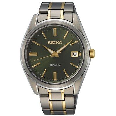 Relógio Seiko Quartz Sur377b1 Titanium + Safira Masculino