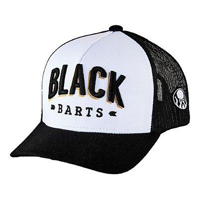 Boné Trucker Black Barts® com frente branca e tela traseira