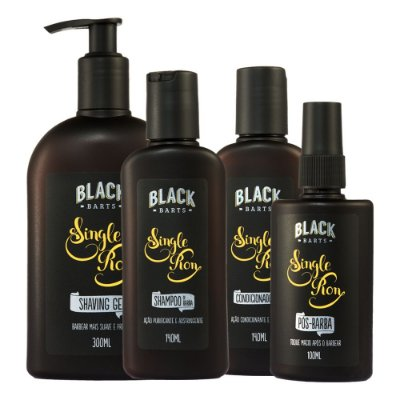 Shampoo para Barba + Condicionador para Barba + Loção Pós Barba Spray + Shaving Gel para Barbear linha Black Barts® Single Ron