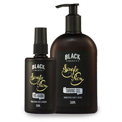 Kit Shaving Gel + Loção Pós Barba Spray para Barba Black Barts® Single Ron