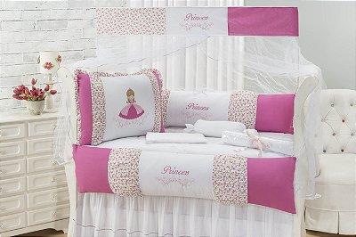 Kit Berço Padrão Americano 100% Algodão 09 Peças - Glamour Pink