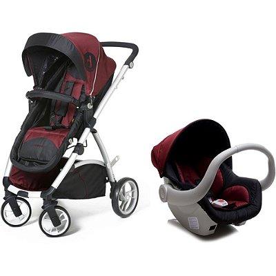 Carrinho Dzieco Maly Travel System + Bebê Conforto + Base Veicular - Preto com Vinho