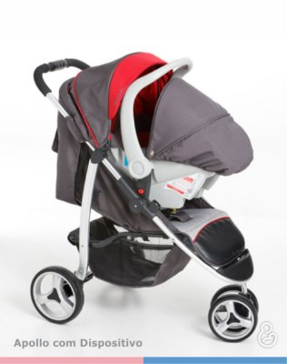 Carrinho de Passeio Travel System + Bebê Conforto + Base Veicular - Apollo - Galzerano - Grafite com Vermelho