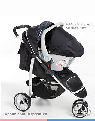 Carrinho de Passeio Travel System + Bebê Conforto + Base Veicular - Apollo - Galzerano - Preto