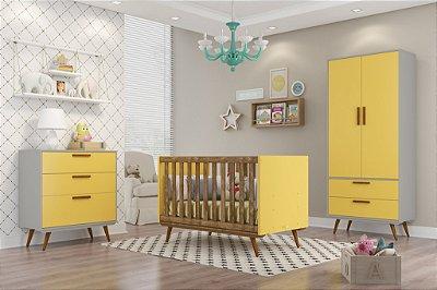 Quarto Completo Retrô Roupeiro 2 Portas + Gaveteiro + Berço - Cinza/Amarelo/Ecowood - Matic Móveis