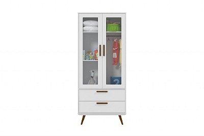 Roupeiro Glass 2 Portas Retrô - Branco Acetinado com Eco Wood