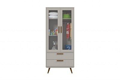 Roupeiro Glass 2 Portas Retrô - Cinza com Eco Wood