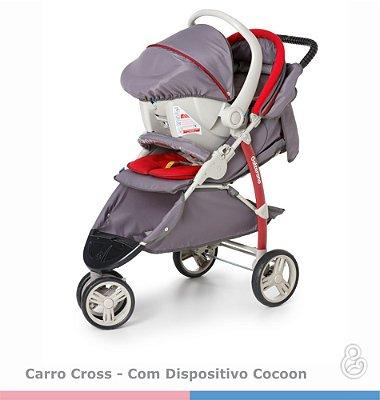 Carrinho Cross Galzerano + Bebê Conforto - Grafite com Vermelho