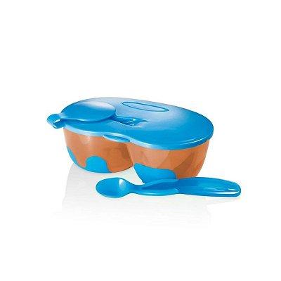 Prato Fundo com Divisória e Colher Funny Meal Azul - Multikids Baby - BB053